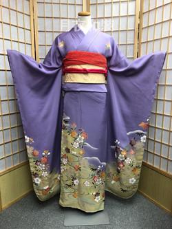 CLASS A 紫色流水櫻花正絹振袖