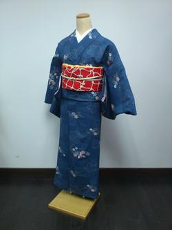 深藍櫻花化纖駒絽單衣小紋