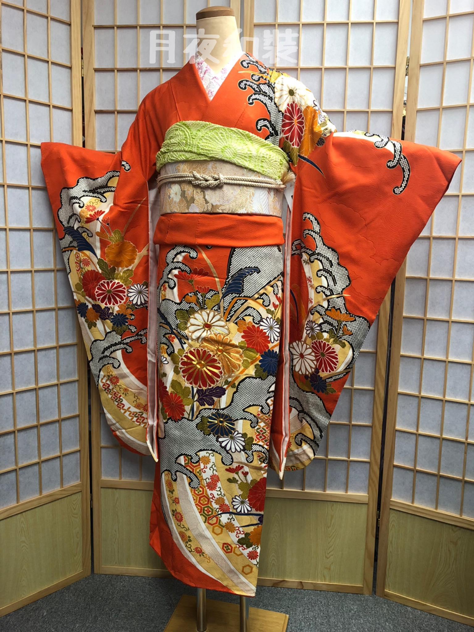CLASS A 橙色金菊水波熨斗鹿子絞正絹振袖