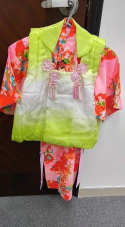女兒粉紅色古布風被布和服(3歲用)