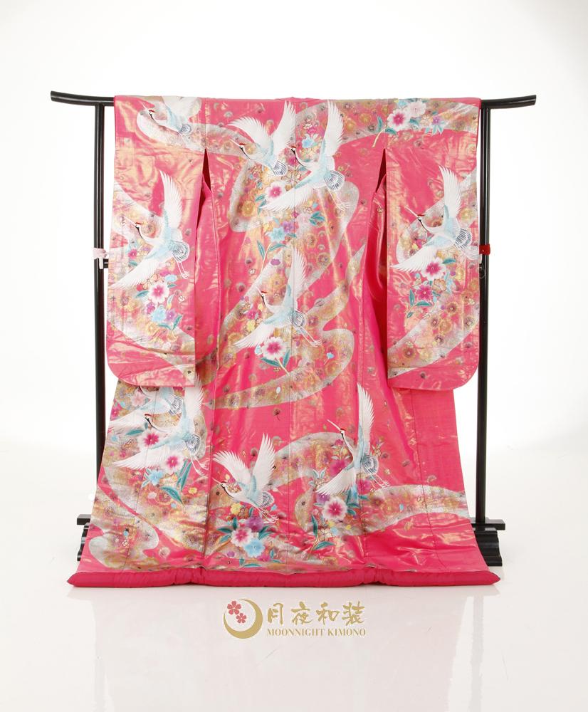 Class B 03 銀粉紅熨金幻彩飛鶴刺繡色打掛
