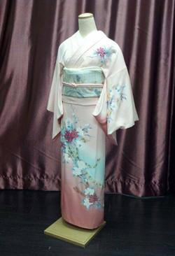 淡粉紅牡丹熨斗正絹付下