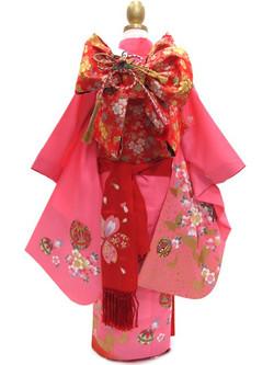女兒粉紅蝶櫻手躹七五三振袖(7-8歲用)