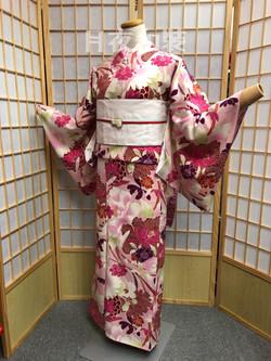 粉紅色牡丹八重櫻化纖袷小紋(外拍不可,需着付師跟場)