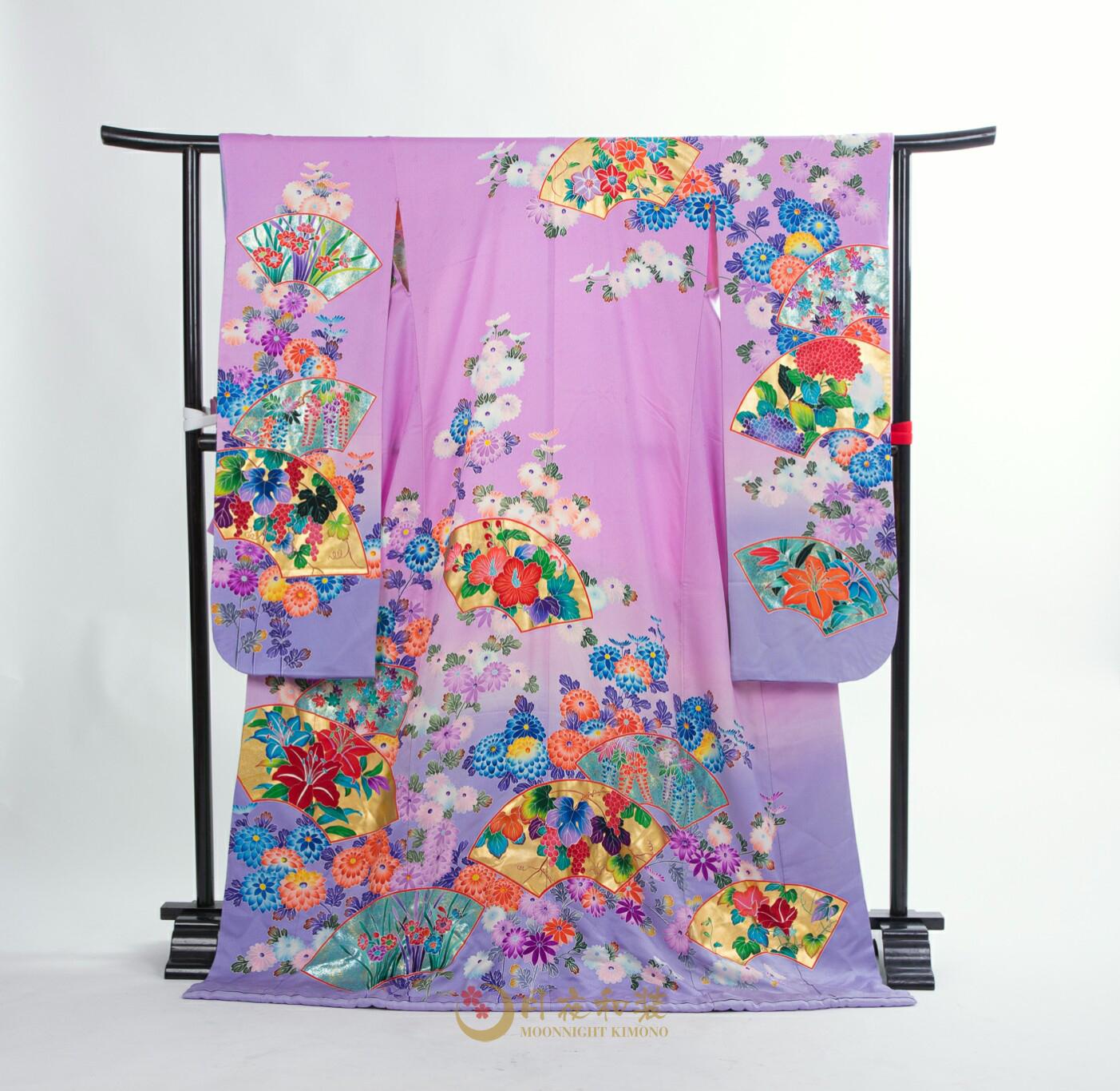 Class A 16 淺紫色百花金扇引振袖
