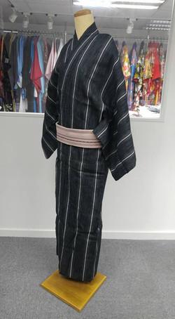 黑色菱紋直縞男裝浴衣