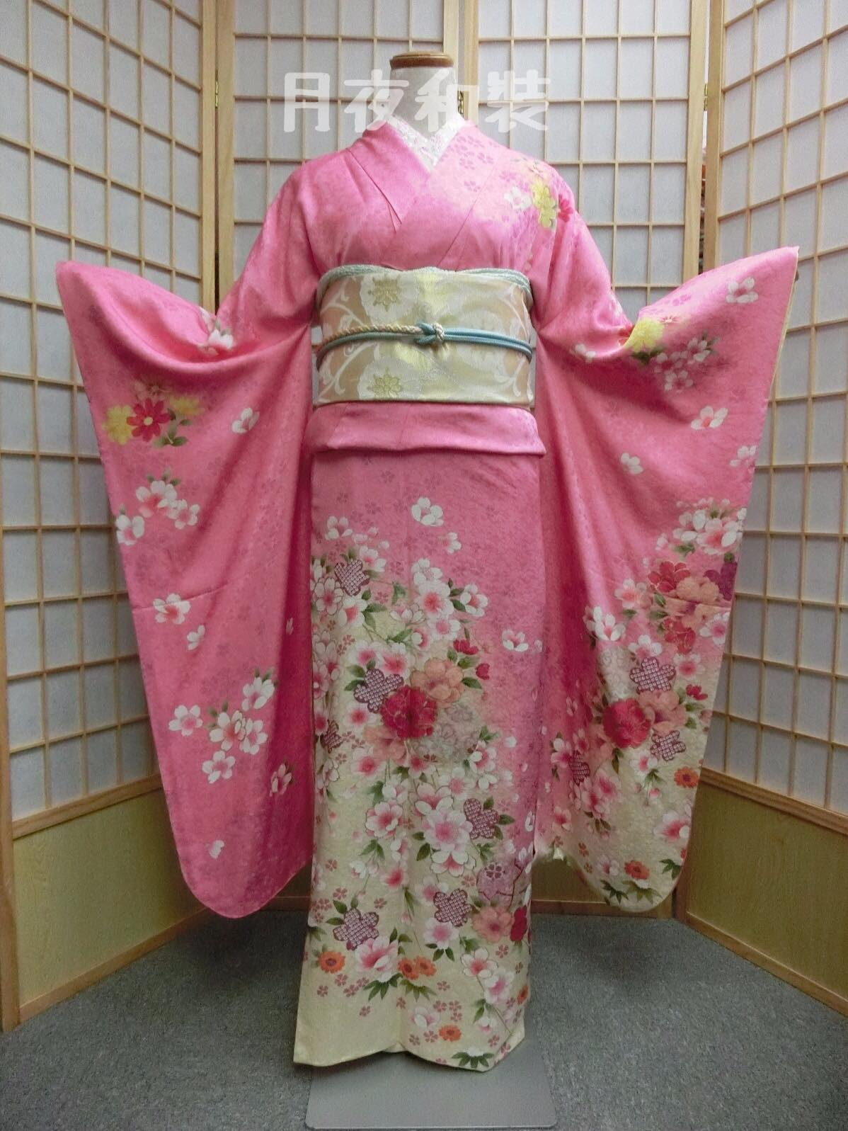 CLASS A 粉紅色京友襌金彩櫻花正絹振袖