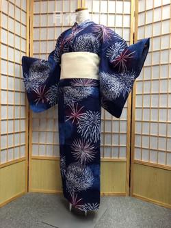藍色花火變織浴衣(2L ssize)