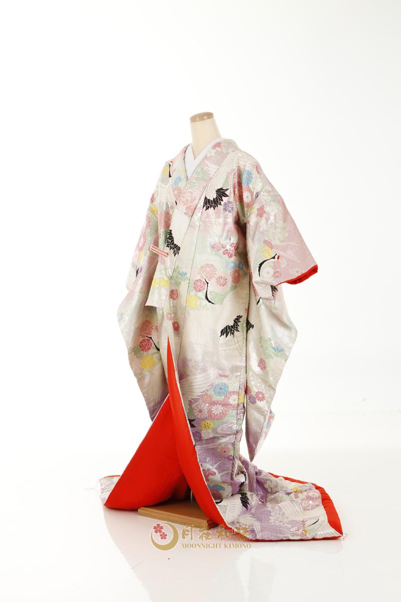 Class A 07 銀紫小菊流水飛鶴刺繡色打掛