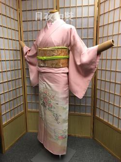 粉紅色霞文花車正絹色留袖(無比翼)