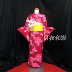 紅色抽象繡球花浴衣