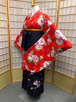 紅色枝椿文市松二尺袖