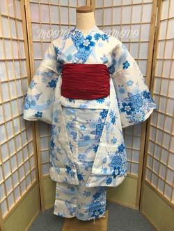 米白色藍櫻緞帶振袖浴衣