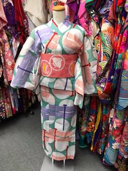 青綠色蜻蜓圖案變織棉浴衣(2L size)