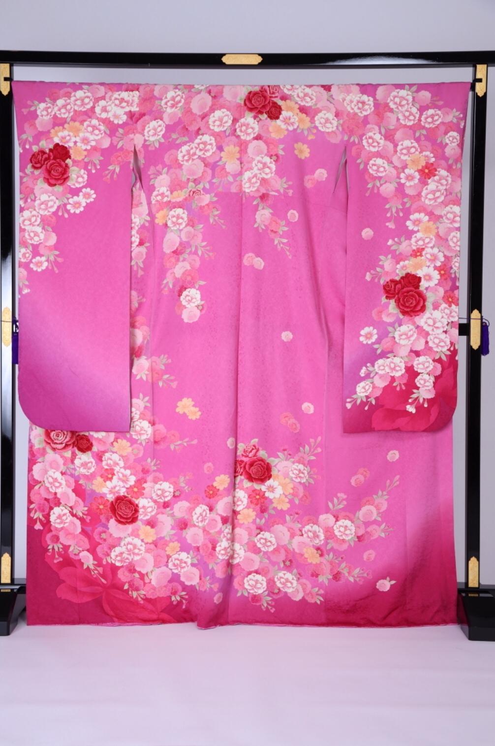 CLASS A 淺桃紅玫瑰花八重櫻正絹振袖
