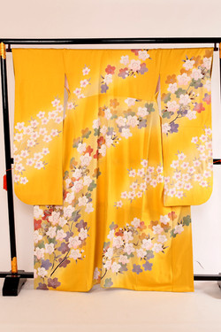 Class A 深黃色櫻花枝正絹振袖