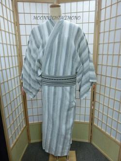 白灰直縞男裝浴衣