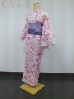 粉紅色八重櫻浴衣