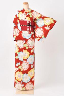 紅色八重櫻高級浴衣by山本彩