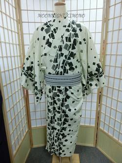 米黃幾何男裝浴衣