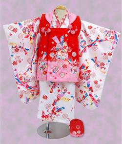 女兒白色花熨斗紋樣被布和服(3歲用)
