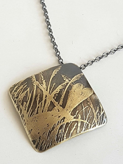 Out of Line Brass Square Pendant or Brooch