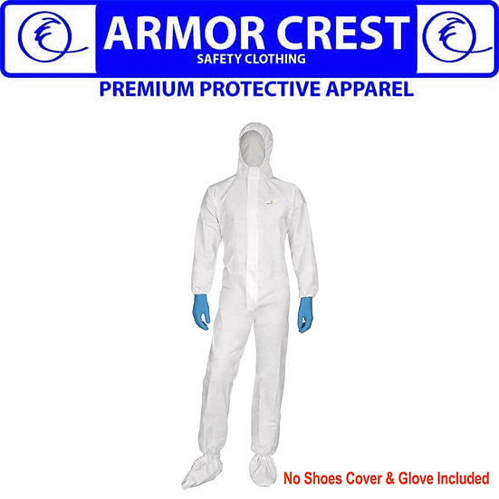 ARMOR CREST OVERALL DISPOSABLE PROTECTIVE SUIT WITH HOOD