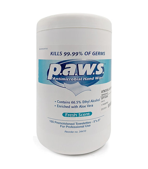 SAFETEC. Hospital - graded p.a.w.s. Antimicrobial Hand Sanitizing Wipes