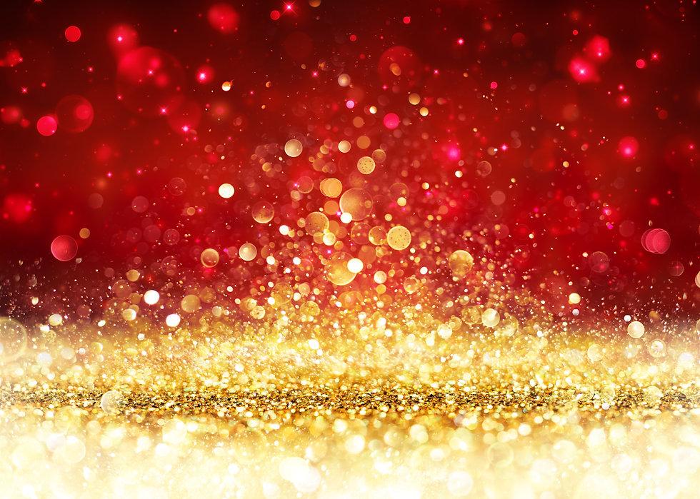 Christmas Background - Golden Glitter On