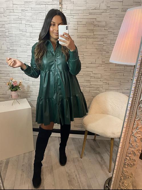 Robe simili cuir Trisha vert