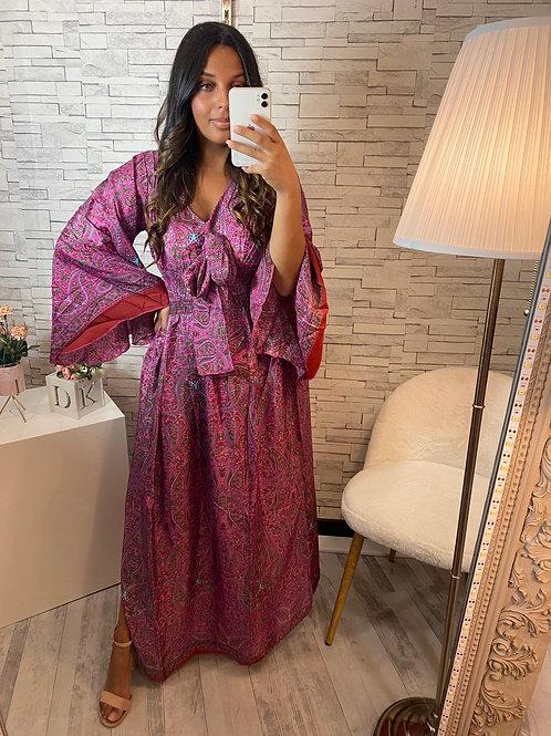 Robe Dina rose & rouge