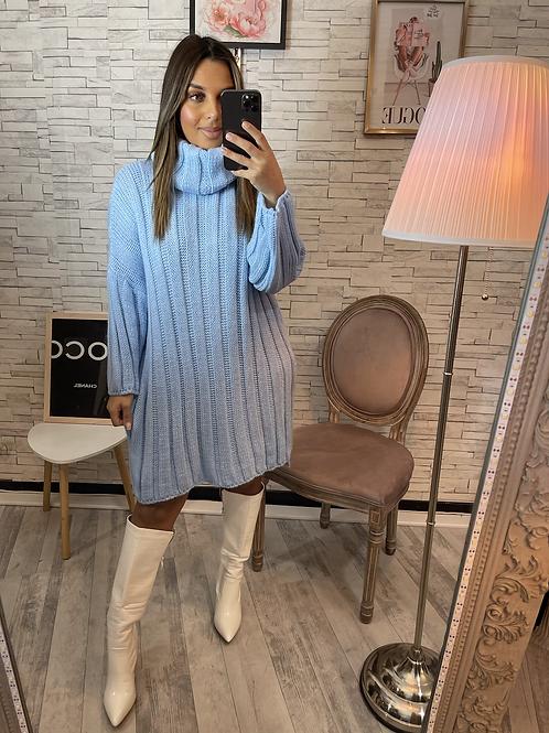 Robe pull à gros col bleu