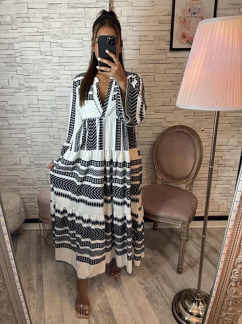 Robe longue aztèque noir