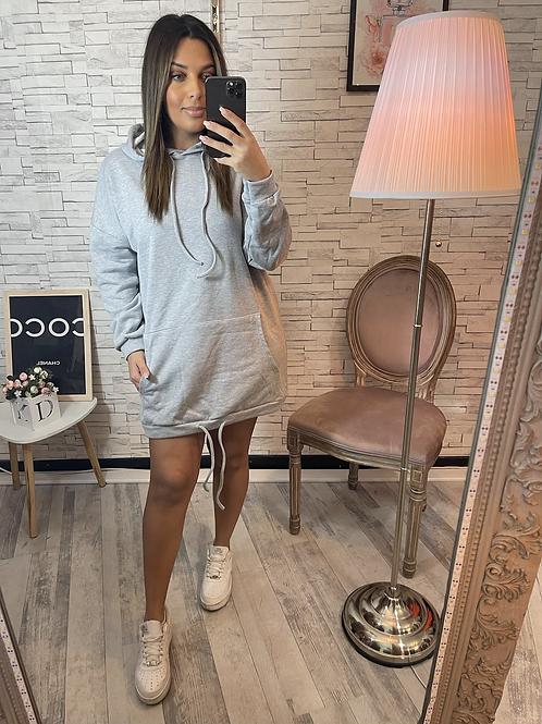 Robe sweat à capuche grise