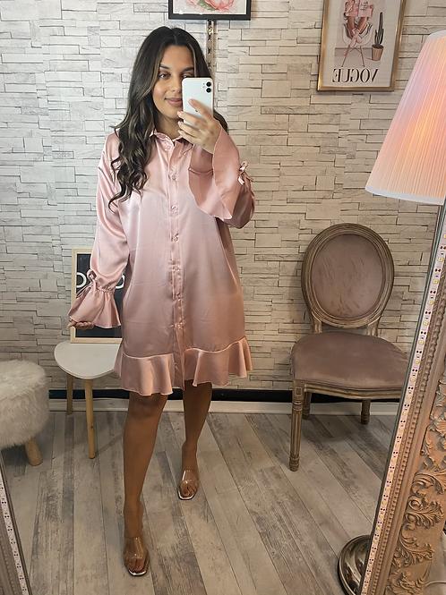 Robe chemise satinée rose poudrée Ela
