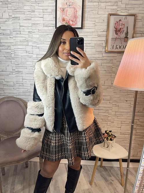 Manteau simili cuir et fourrure Élodie noire