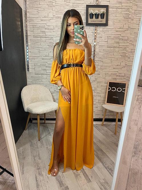 Robe Natanaya jaune moutarde