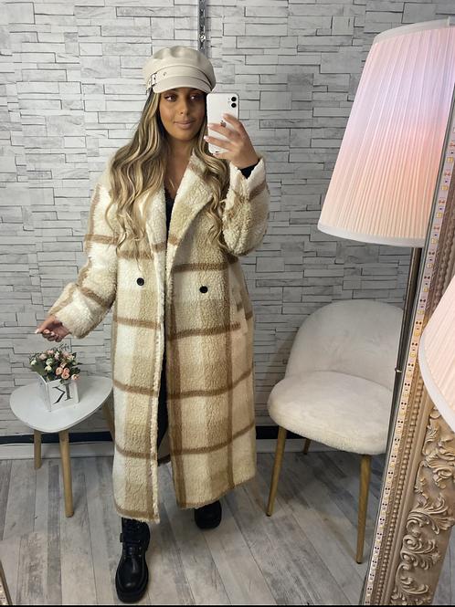 Manteau long à carreau Anna beige