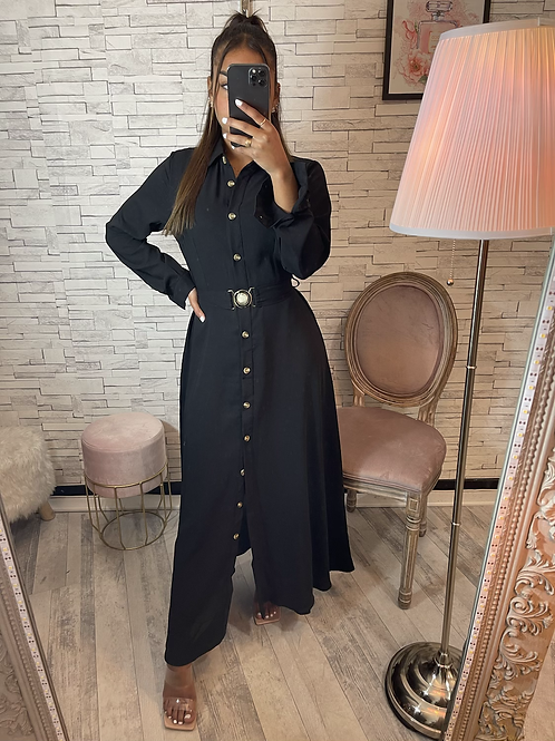 Robe Samira noir à ceinture et boutons dorée