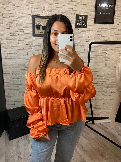 Top bustier satiné Shana orange