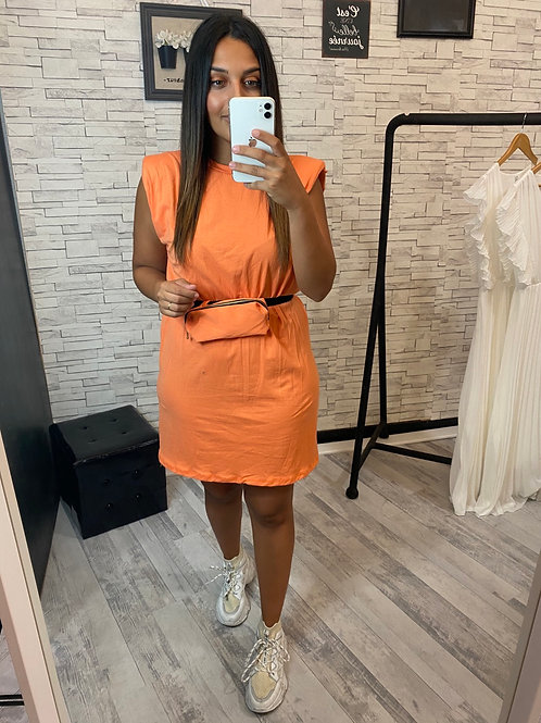 Robe T-Shirt épaulette et sacoche orange