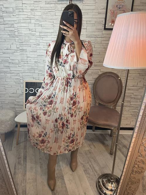 Robe Claudia à fleurs beige