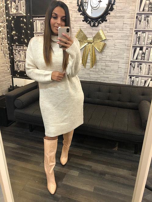 Robe Pull Col K beige