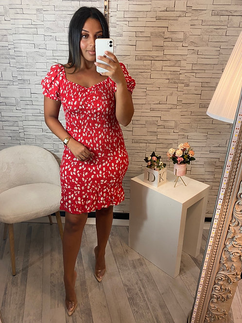 Robe Dianna fleurie rouge