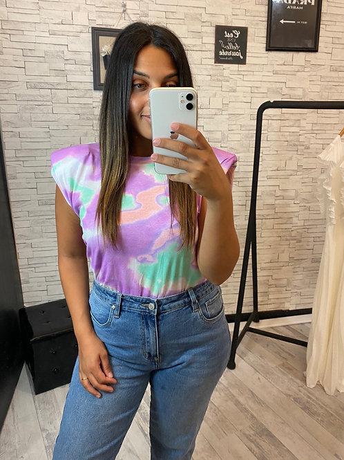 T-Shirt épaulettes Tie and Dye violet