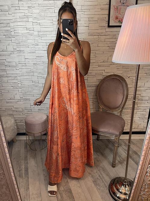 Robe longue satinée orange