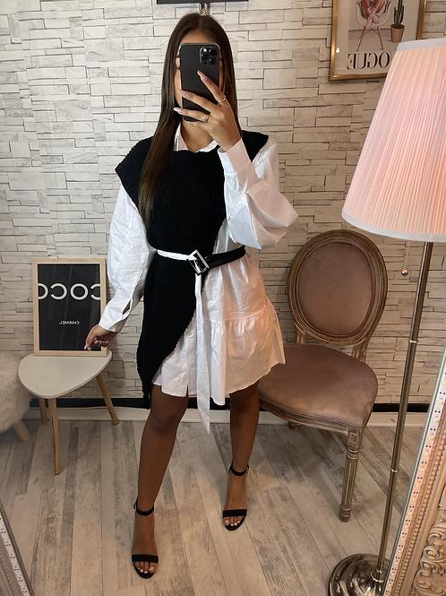 Robe chemise à col blanc/noir Elanzia