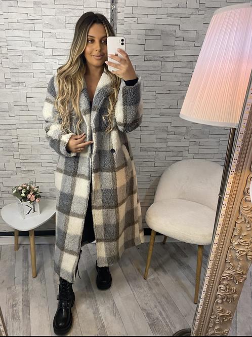 Manteau long à carreau Anna gris