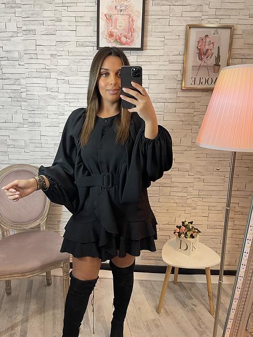 Robe Poly noire avec ceinture