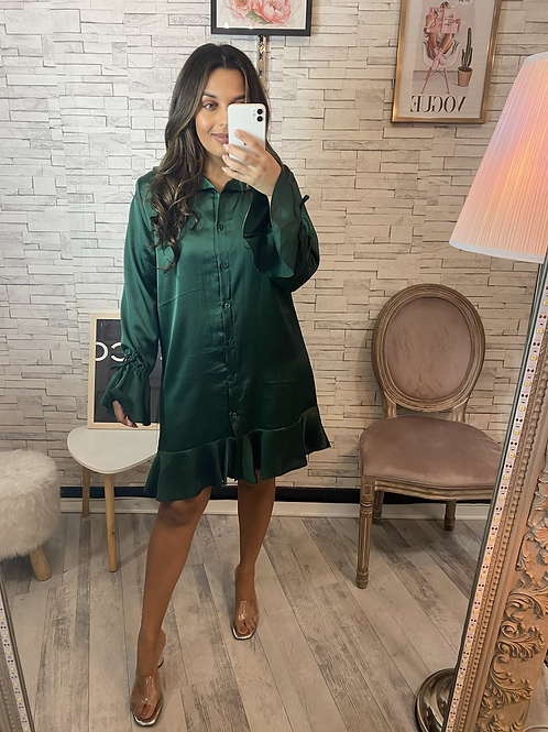 Robe chemise satinée vert Ela